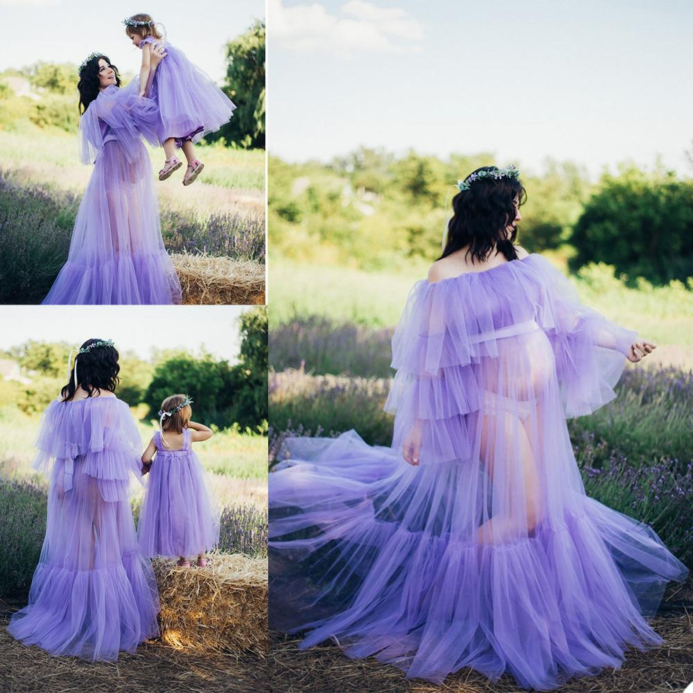 Illusion Light Purple Tulle Maternidad Mujeres Robas Off Hombro Manga Larga Sleepwear Robe Party Buebos de fiesta para fotos de fotos
