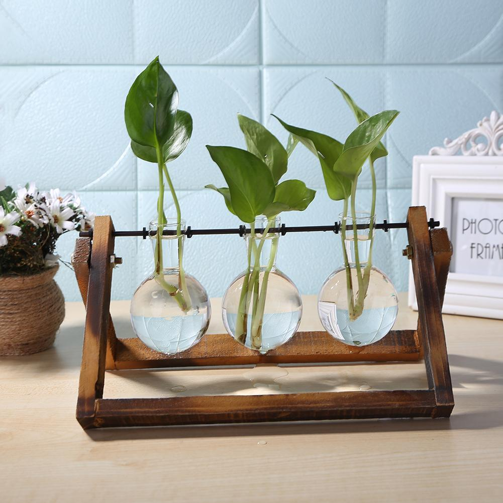 Glass and Wood Vase Planter Desktop Hydroponics Plant Bonsai Flower Pot Hanging Pots with Wooden Tray Home Decor
