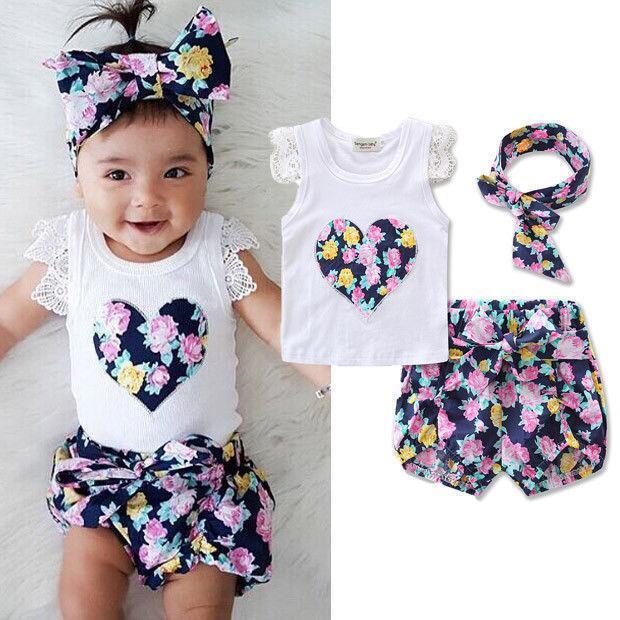 Лето рыхлой 2pcs Девочки Одежда Набор для печати рукавов футболки Топы Цветочные Шорты Костюмы Одежда для новорожденных наборы