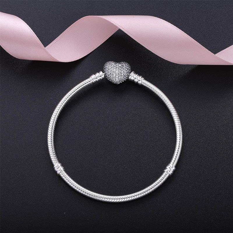 Autentico 925 argento sterling cuore Charms Braccialetto con scatola fit Pandora Pandora perline europee Braccialetto gioielli vero braccialetto d'argento per le donne