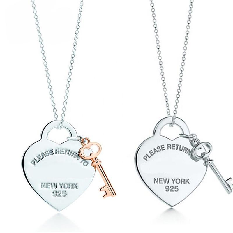 2020! TIF 925 plata esterlina en forma de corazón llave colgante collar exquisito cadena de clavícula, su corazón solo usted puede abrir F1222