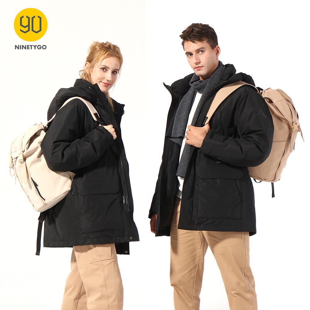 NINETYGO Smart Heated Down Jacket 80% Down High-Tech Heating 4 Temperature Settings Fashion Casual Parka Waterproof Down Parka 201026