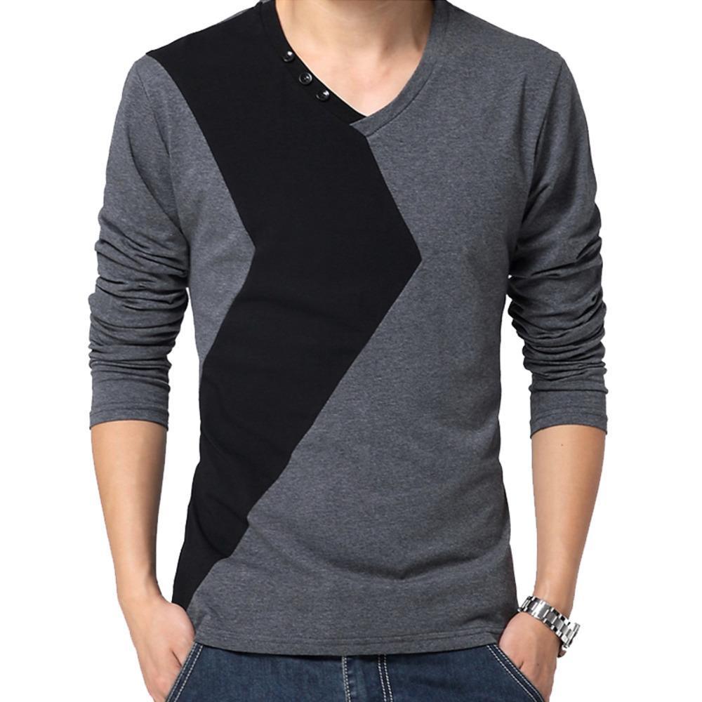 Browon Marka Sonbahar Erkek T Shirt Moda 2020 Streetwear Uzun Kollu V Boyun Renk Patchwork Pamuk T Gömlek Erkekler Q1219