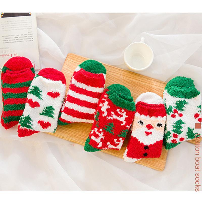 Outono Inverno Natal Velvet Socks Mulheres Início Slipper Meias dos desenhos animados Papai Noel Sock Grosso aconchegante e confortável Coral sono Meias L700FA