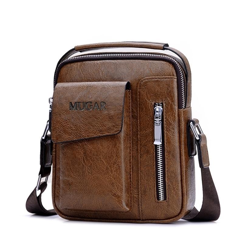Casual Vintage Messenger Sac Bandoulière Sacs à bandoulière Cuir PU Carrelage pour hommes rétro Zip de fermeture à glissière Handbags Y201224