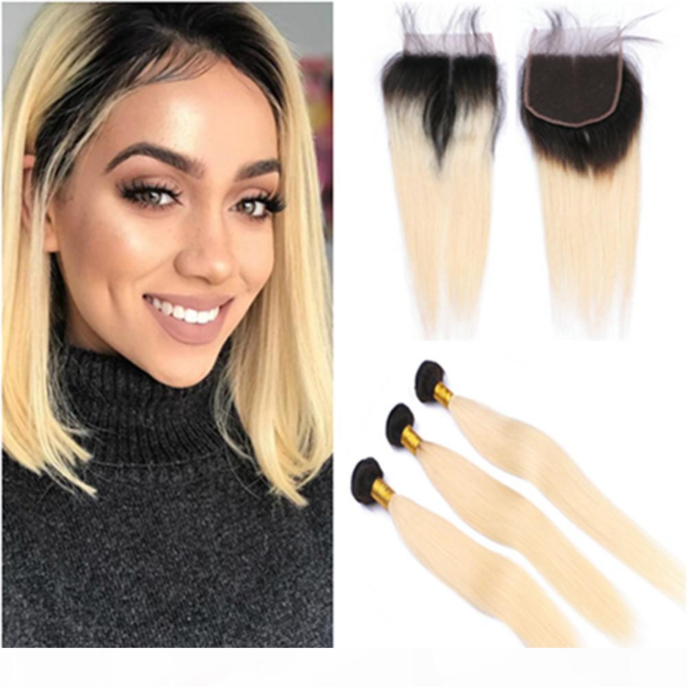 Barato cabelo humano virgem brasileiro # 1b 613 loira ombre weave pacotes enraizados com ombre loira frente lace peça 4x4