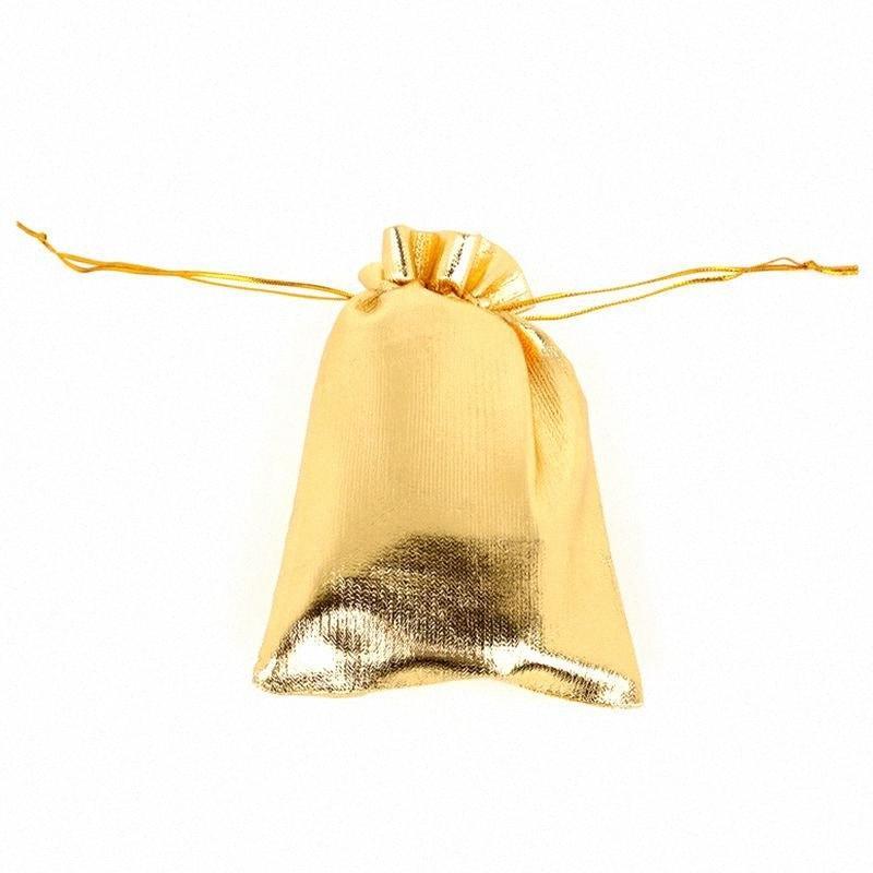 50pcs / lot Sacchetti regalo Candy Foil Organza Bag partito dell'oro favore di cerimonia nuziale del sacchetto di decorazione di Natale Sacchetti per imballaggio 7x9cm zqtn #