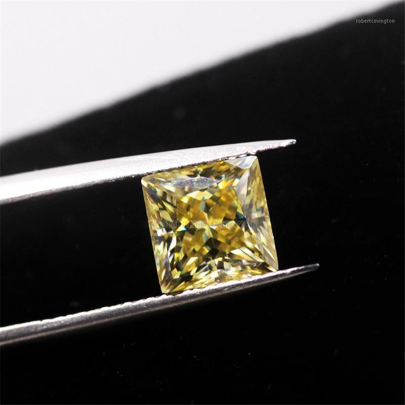 Свободные бриллианты Tianyu Gems Princess Cut 8 * 8 мм 2.0CT желтый цвет Moissanite Diamond Lab создан тест драгоценного камня, возможности для ювелирных изделий