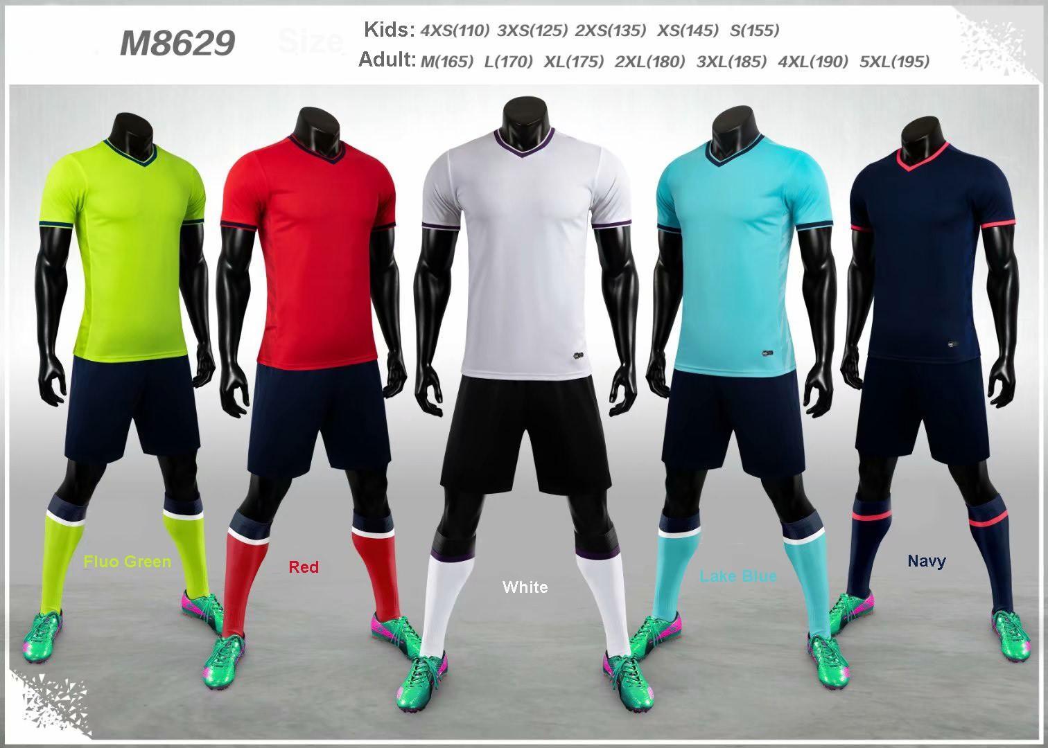 M8629 Blank Takım Seti 2020-2021 Yetişkin Çocuk Futbol Jersey Seti Futbol Takımı Erkekler Çocuklar Futbol Eğitim Üniformalar Özelleştirilmiş