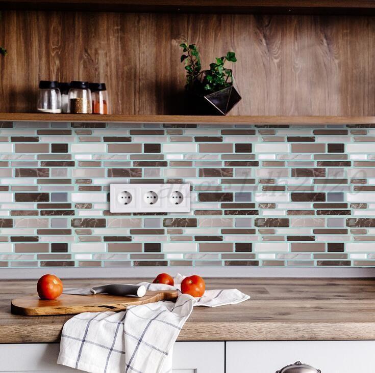 Fliese schälen und stecken selbstklebende abnehmbare Stick auf Küche Backsplash Badezimmer 3D Epoxy Wandaufkleber Tapete Fliesen Aufkleber Multicolors