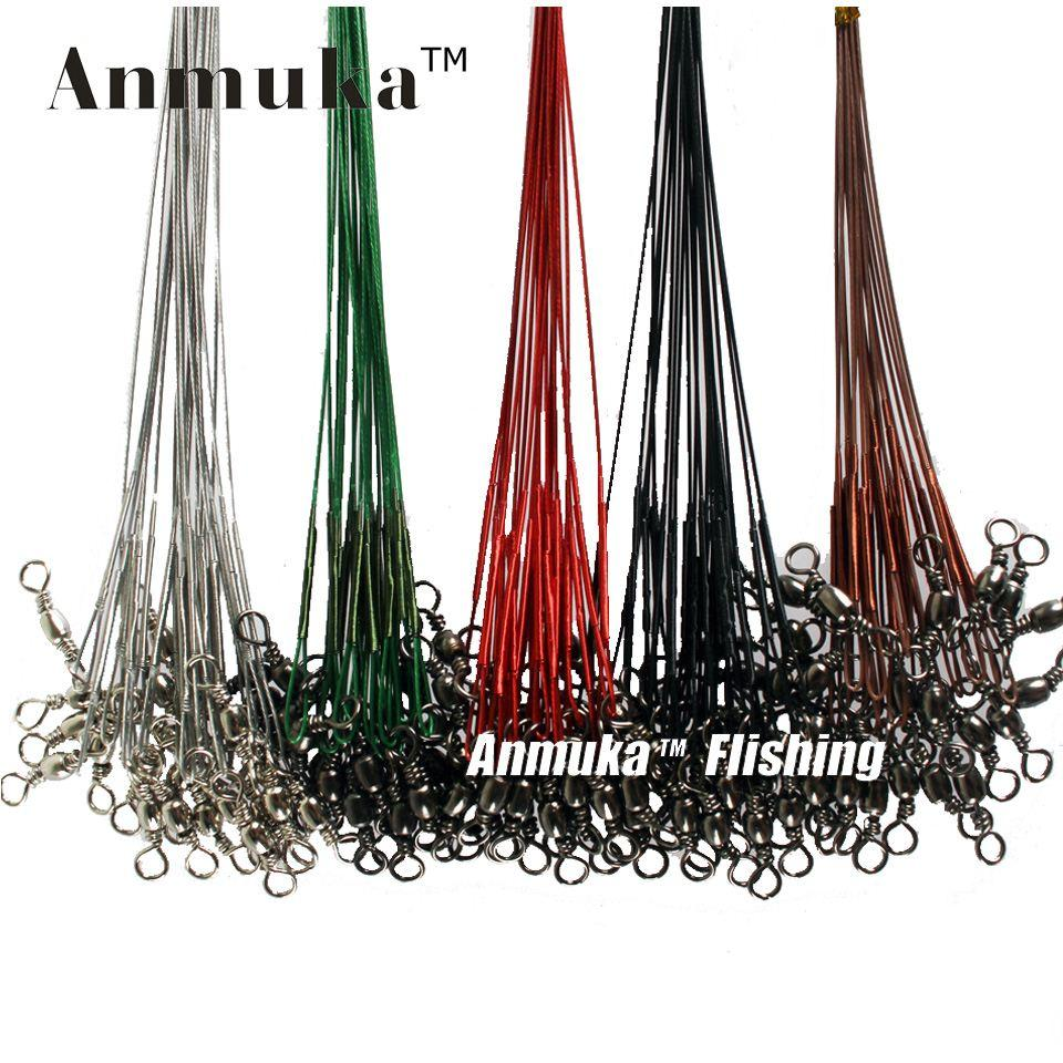 q0205 Anmuka 10Pcs Fly Fishing lead Line Connector Leader Wire lead line Assortment Sleeve and Stainless Steel Rolling Swivels 12-28cm