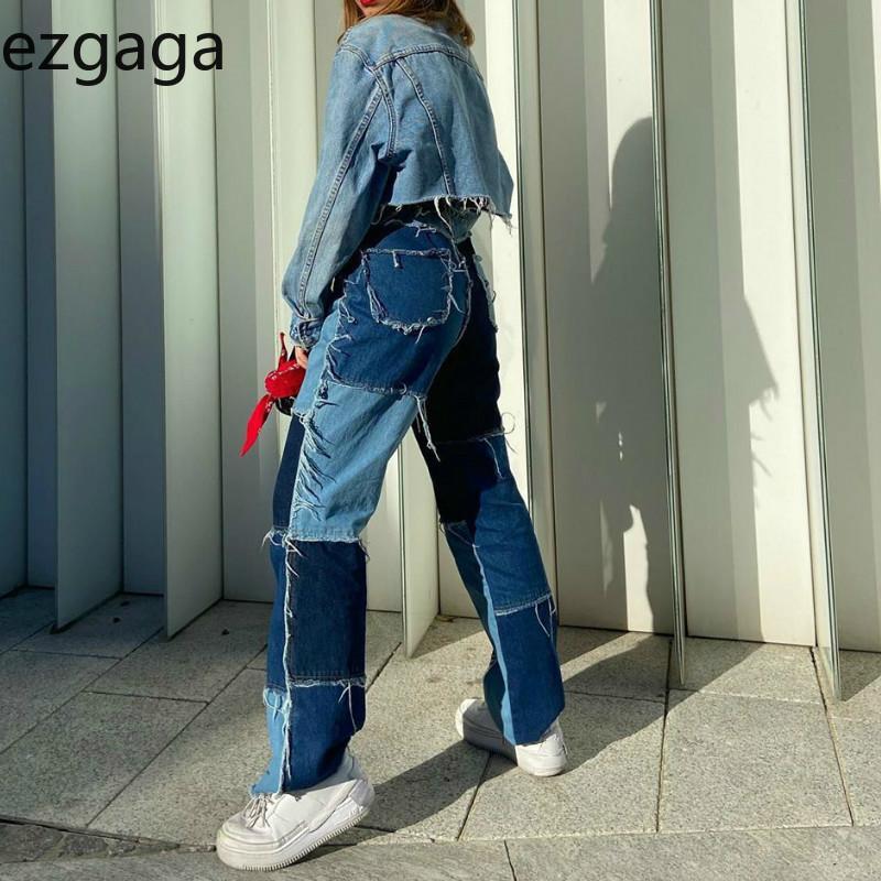 Ezgaga Jeans Patchwork Femmes Color Block taille haute Tassel longue Pantalon Streetwear Denim Pantalons femme Poches Mode 201014