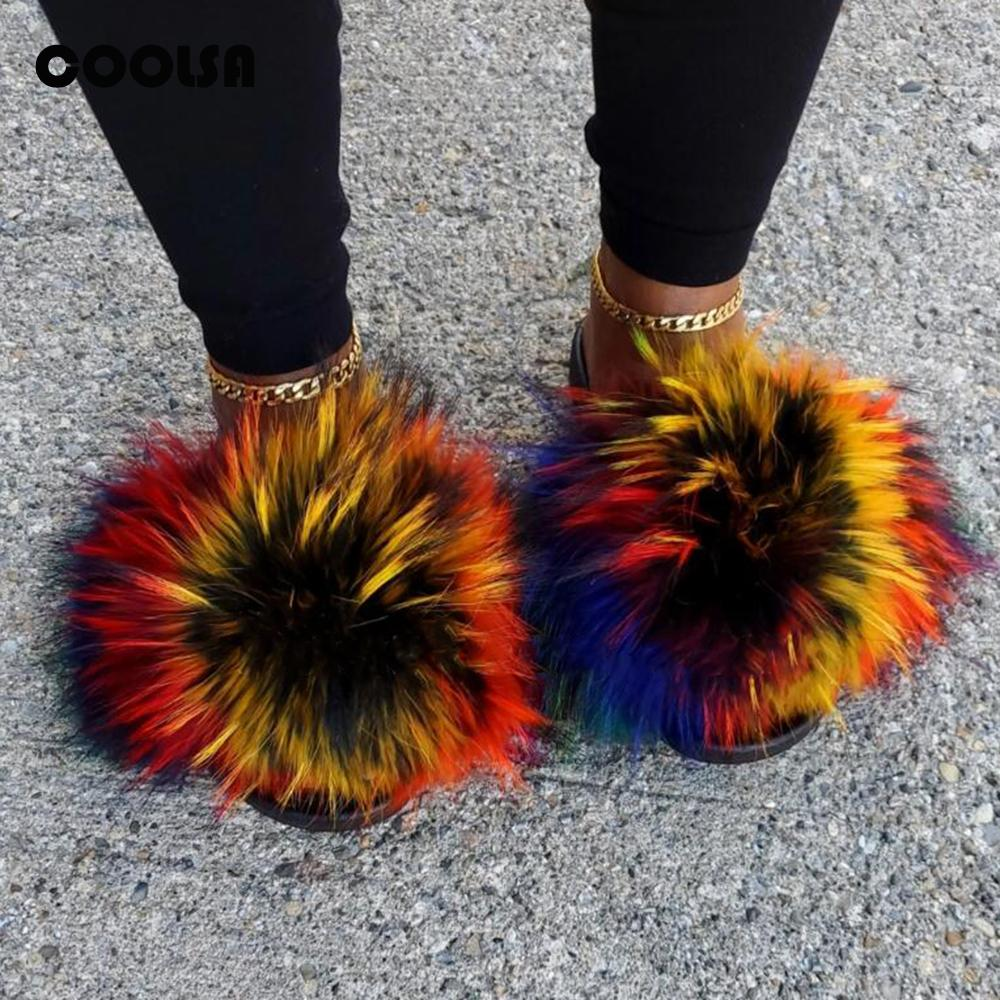 Лето Пушистый Енот меха Тапочки Обувь Женщины Real Fox Fur флип-флоп Плоский Furry Fur Слайды Открытый сандалии Женщина Потрясающая обувь C1011