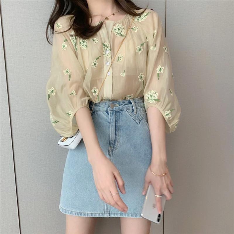 Francês Chiffon Blusa Mulheres O-pescoço Manga Hale Cópia Floral Camisas Verão Estilo Coreano Blusa das Mulheres com Laço Plus Size 2020