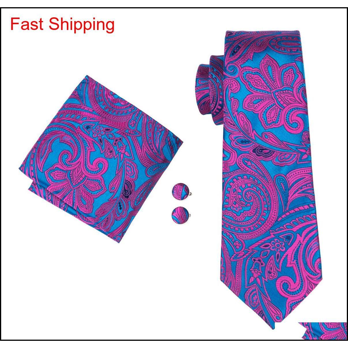 Klasik Ipek Kravat Formu Erkekler Son Tasarım İpek Bağları Erkekler Fashin Suit Kravat Cep Kare Cufflin Qylgat Homes2007