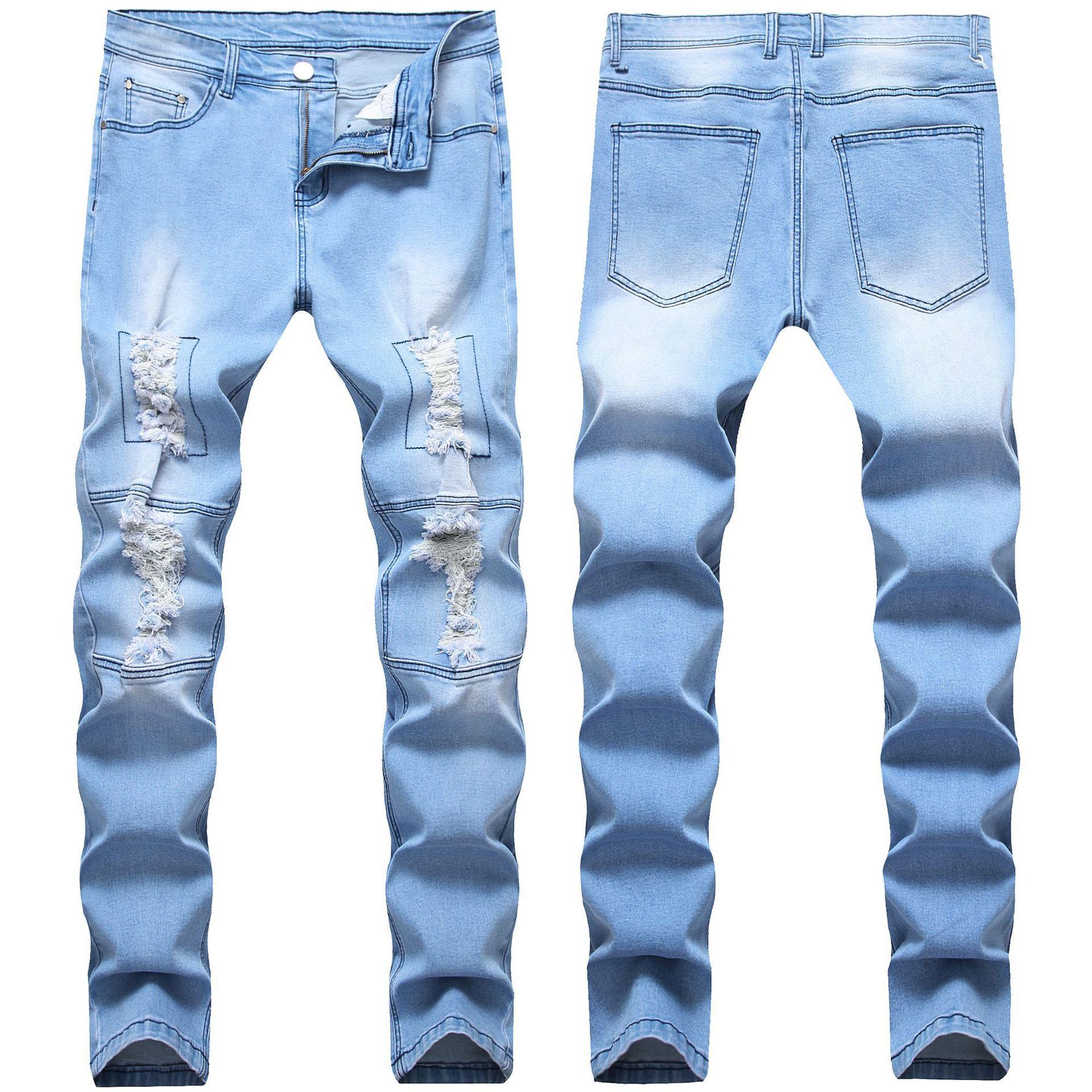 Sıska Erkek Siyah Mavi Kot Serin Erkekler Kot Streç Slim Fit Düz Denim Biker Jeans Hip Hop Erkekler Streetwear 1820 #