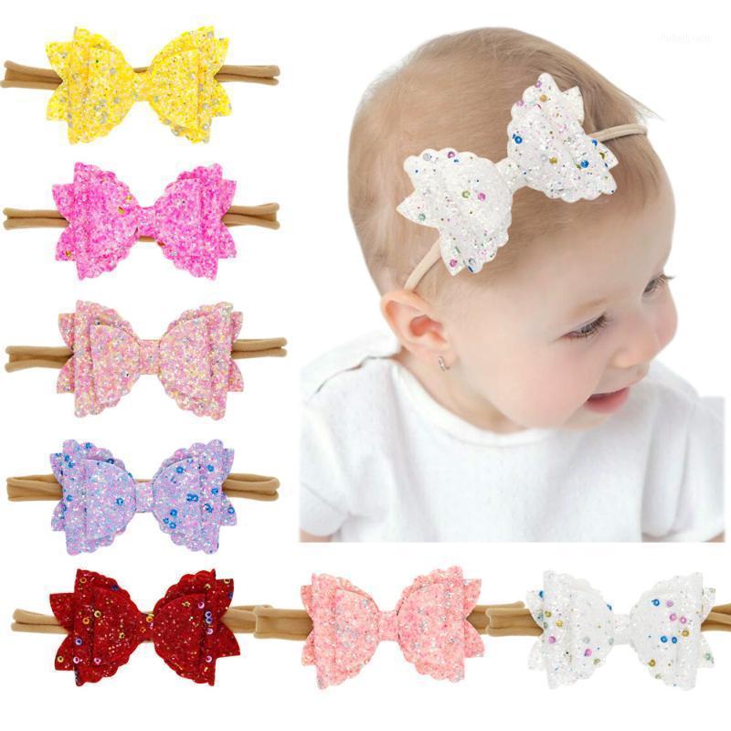Paillettes de paillettes Trois étages Bowknot Bandeau pour bébés Girls Bandes de cheveux en nylon coloré pour bébé Accessoires pour enfants1