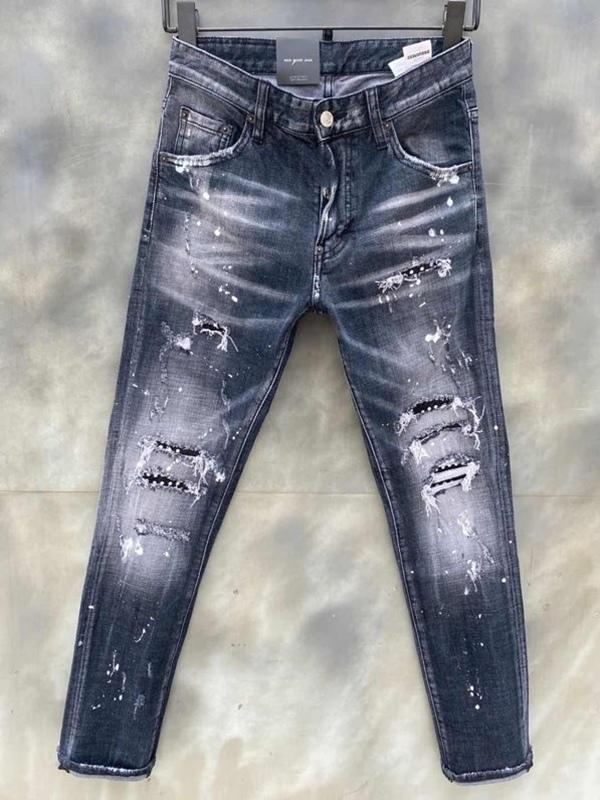 Modische europäische und amerikanische Männer Lässige Jeans im Jahr 2020, hochwertige gewaschene, handgenutzte, enge und gerissene Motorradjeans LT012