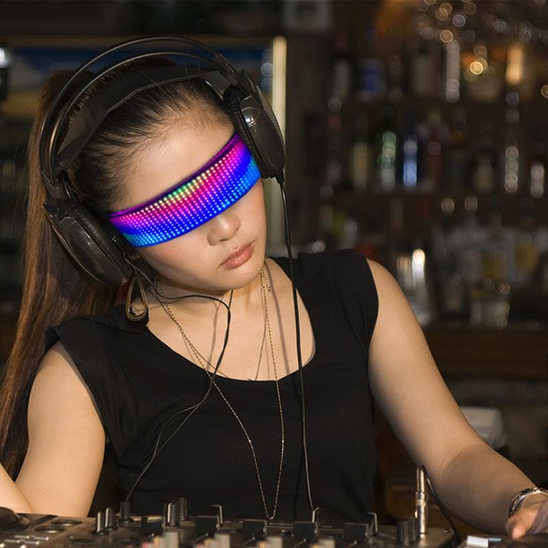 التطبيق الأصلي السيطرة led نظارات تخصيص تحرير diy بلوتوث تضيء نظارات مع الهذيان، عيد ميلاد، بار، تضيء نظارات حزب dhl