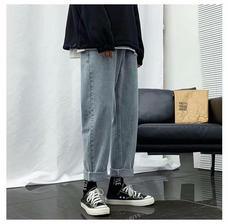 Vita Blu Grigio rigonfio Uomo Pantaloni jeans Ragazzo freddo casuale Elastico largo gamba lunga retrò Street Style Hip Hop di modo di marca della gioventù