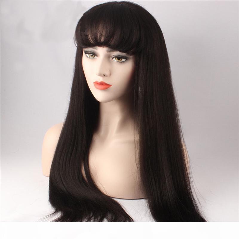 ZF Natural Color человеческих волос Hand Made передний парики шнурка черный 24 Длинные прямой парик шнурка дюйма