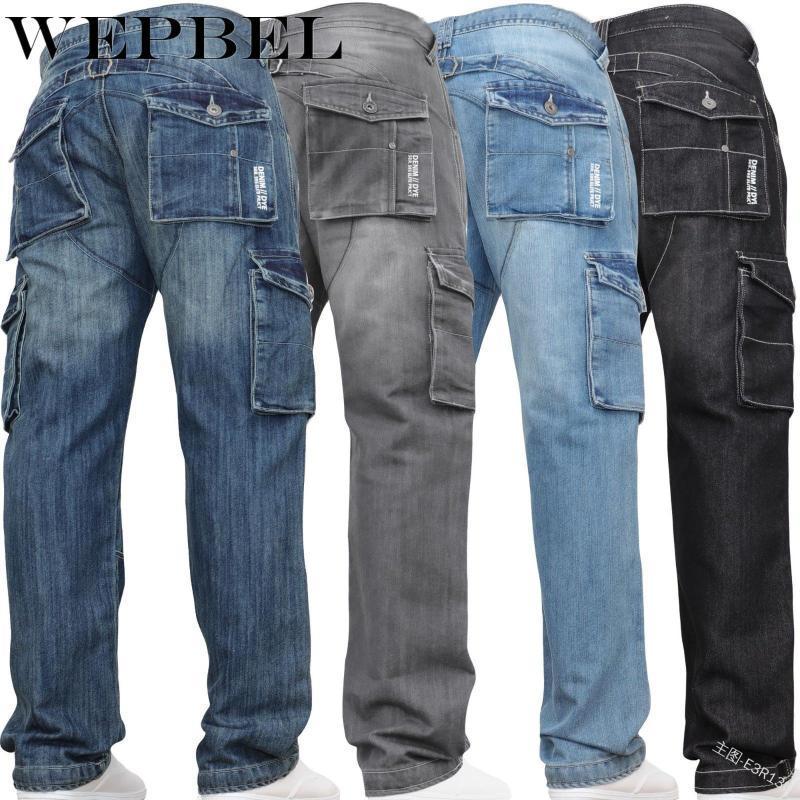 WEPBEL Мужская мода плиссированные карманные джинсы осень Кнопка Повседневный Сыпучие Середина талии сплошной цвет джинсовой ткани Брюки прямые