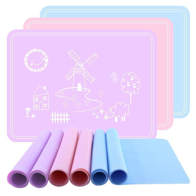 1 قطع الجدول ديكور عدم الانزلاق طالب الأطفال الجدول حصيرة سيليكون المفارش لطيف الكرتون 40 * 30 سنتيمتر ماء الصف