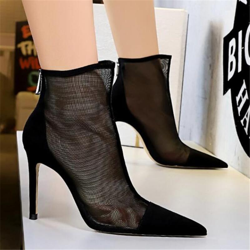 AIYKAZYSDL Primavera Outono New Sexy malha Botas Mulheres Pointed Toe Stiletto Heels Moda Casaco feminino Partido Shoes Tamanho 34-40