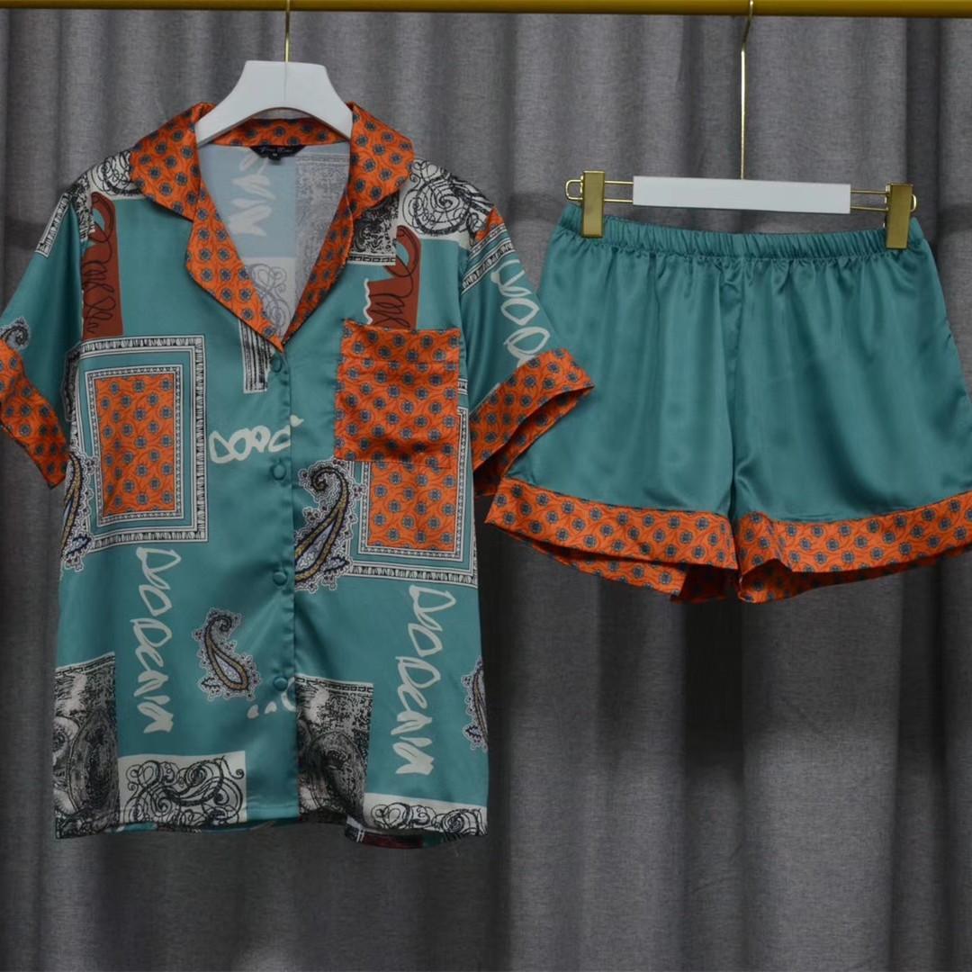 Весна и летние новые шелковые печатные отводы две части домашнее обслуживание женские пижамы