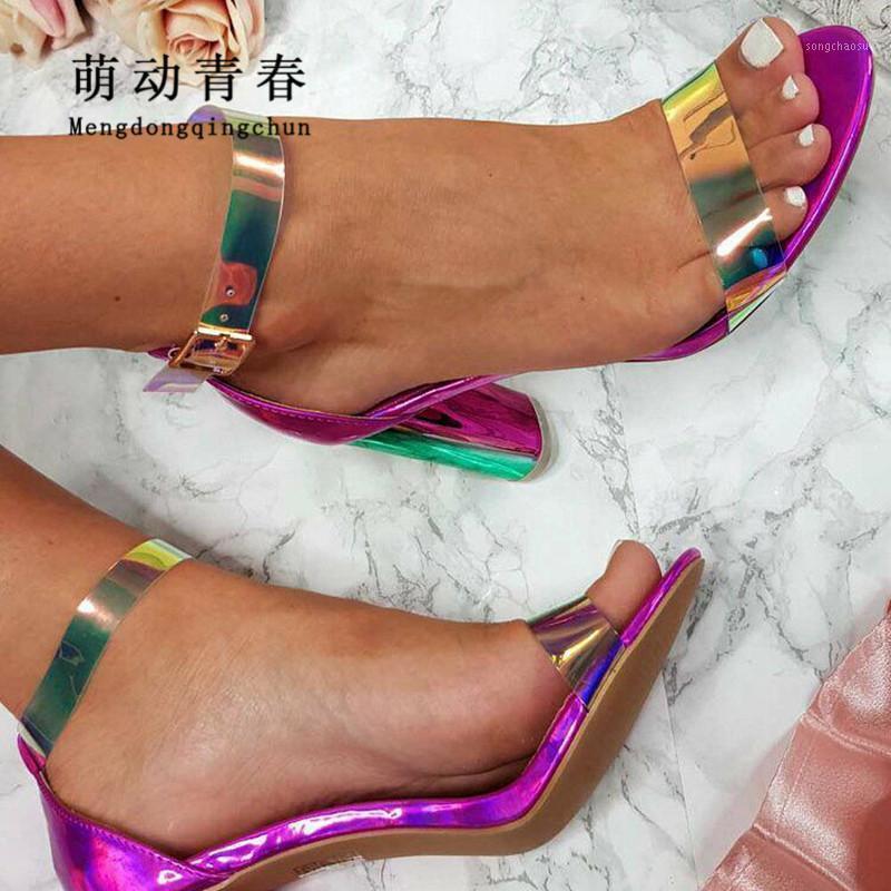 2021 nuove donne tacchi alti sandali sexy colorato in PVC cinturino alla caviglia sumer sandali aperti toe chunky tallone abito festa donne pompe mujer1