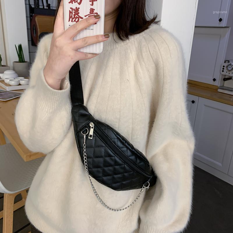 Женщины стиль черный плед талия сумка из искусственной кожи старинные Fanny пакет цепи груди мешок дизайнерские мешки для планки для женщин 20211
