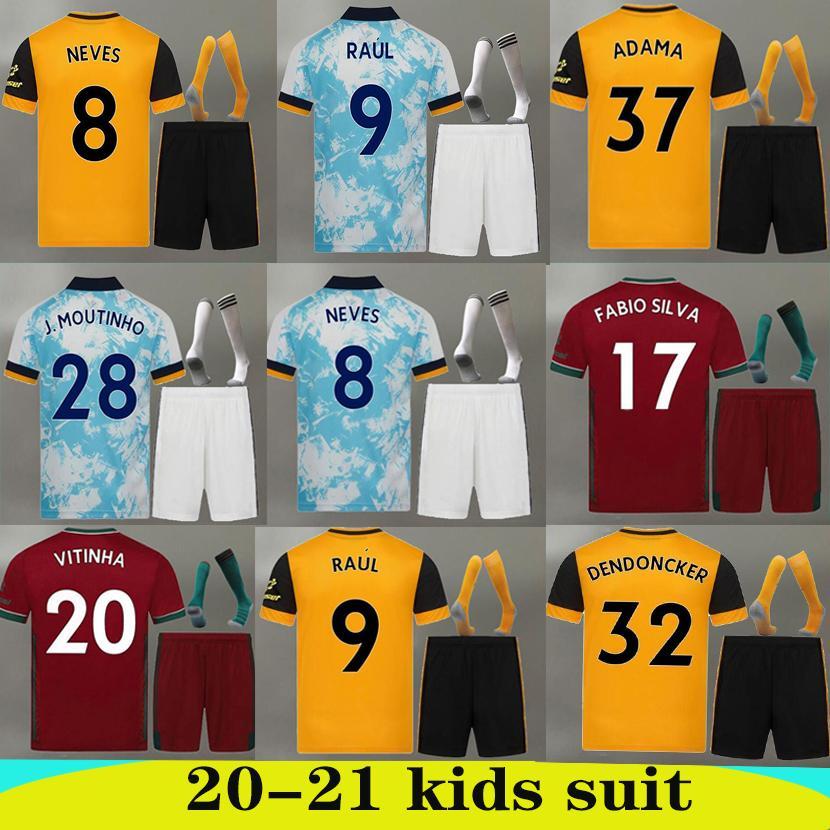 2020 2021 Lupi Jersey di calcio 20 21 NEVES RAUL ADAMA DIOGO J. Coady NETO Podence DOHERTY BOLY J.OTTO casa Ospite 3rd Bambini kit camicia di calcio
