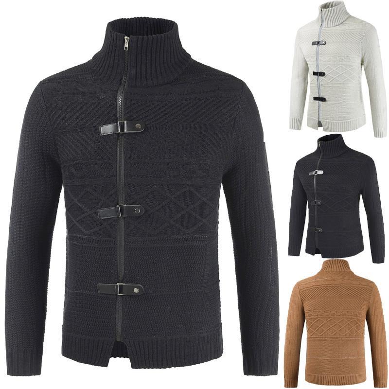 2020 Nuovo maglione casual caduta giacca di moda allentata con fibbia in pelle a maglia più spessa in pelle cardigan maglia vestiti cappotto per nave