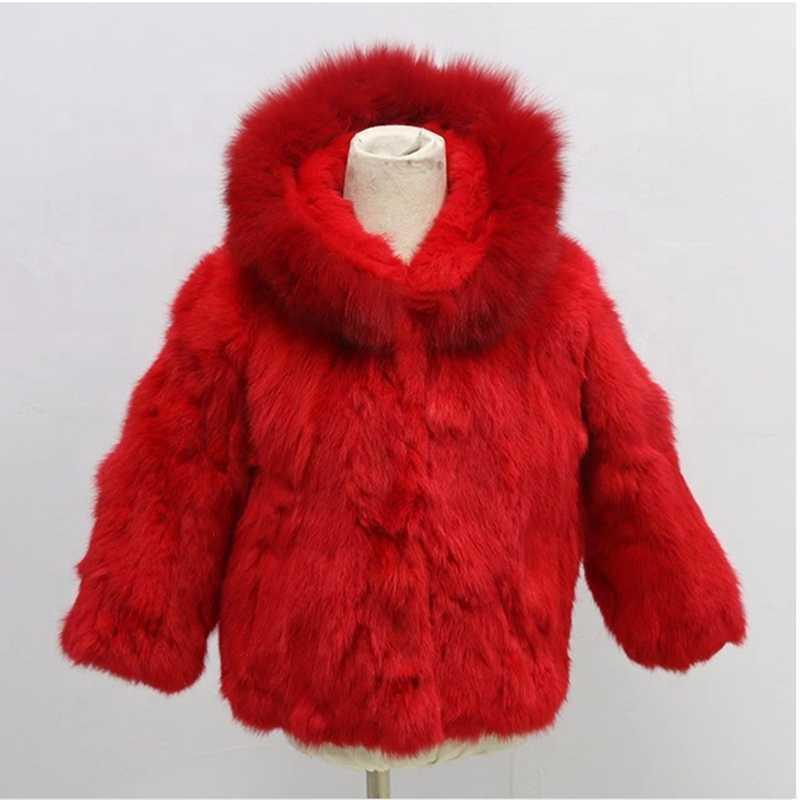Futro damskie Faux 2021 Płaszcze zimowe dla chłopca i dziewczyny Wysokiej jakości słodkie ubrania dla dzieci Multi Color Dzieci Prawdziwa kurtka z kapturem