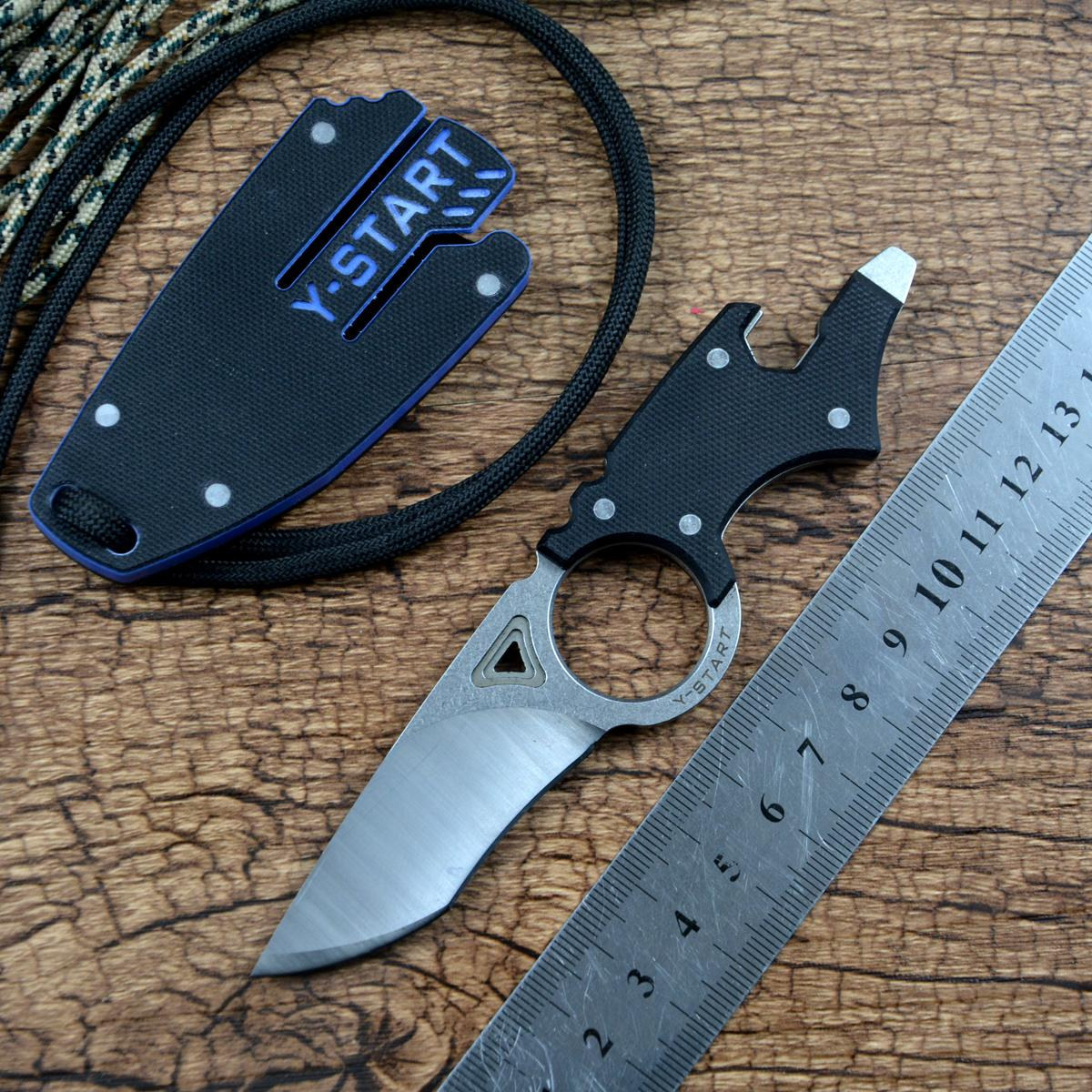 Y-AVVIO MK5002 multifunzionale del collo Utility Knife D2 Lama con G10 il caso Multi fisso Coltelli da campeggio esterno di EDC Strumenti