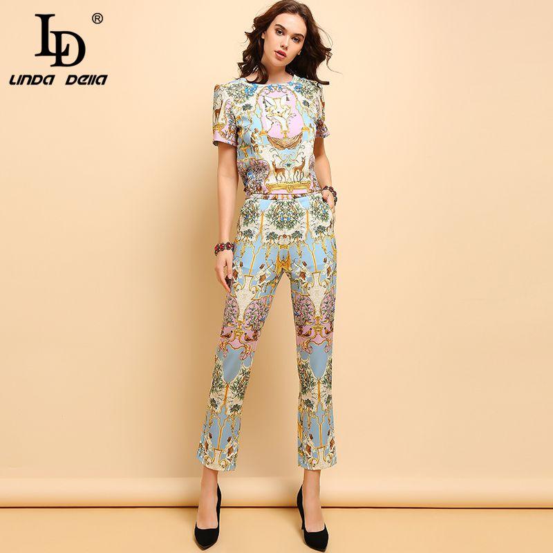 LD LINDA DELLA Yaz Moda Bayan Casual Kısa Kollu T-shirt ve zarif Hayvan Printe Uzun Pantolon İki adet Seti 201008 Suits