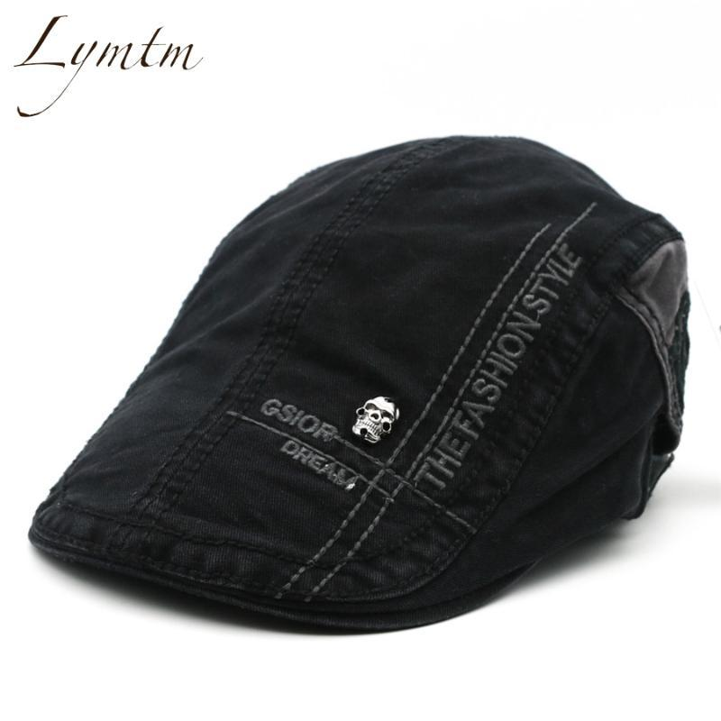 2020 New Style Men Cotton British Letter Embroidery Cabbie Hats Men's Solid Adjustable Vintage Classic Newsboy Cap 5 Colors