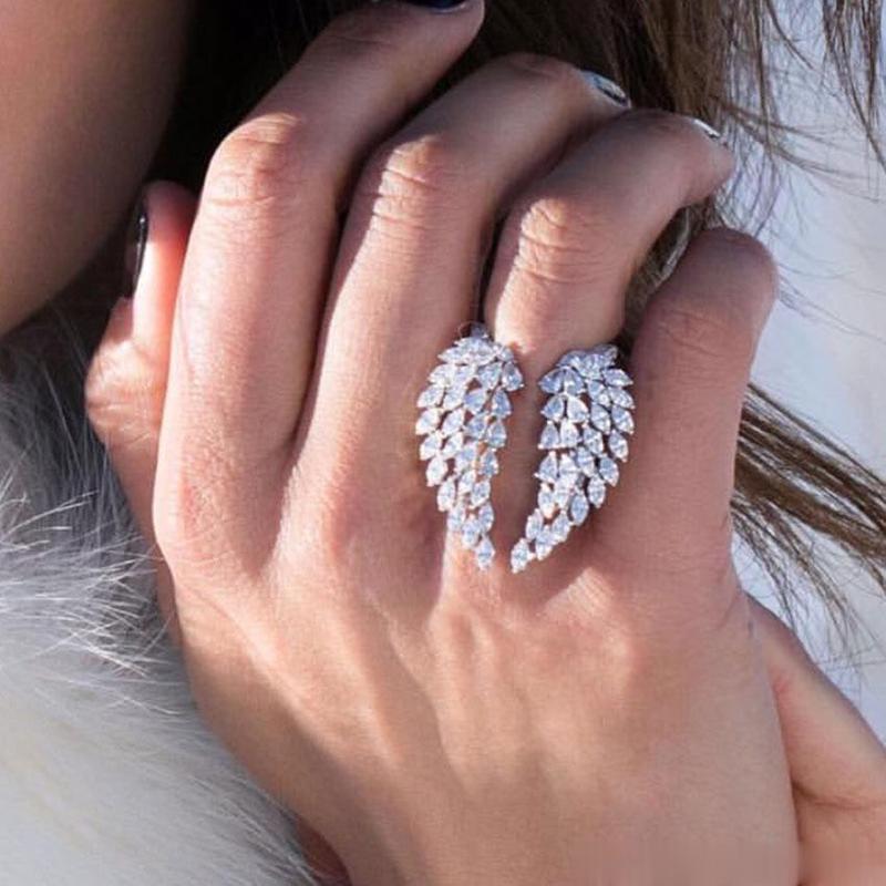 الزفاف تألق الأزياء والمجوهرات 925 الفضة الاسترليني ماركيز كامل قطع بيضاء توباز تشيكوسلوفاكيا الماس الأبدية الجناح ريشة قابل للتعديل الدائري