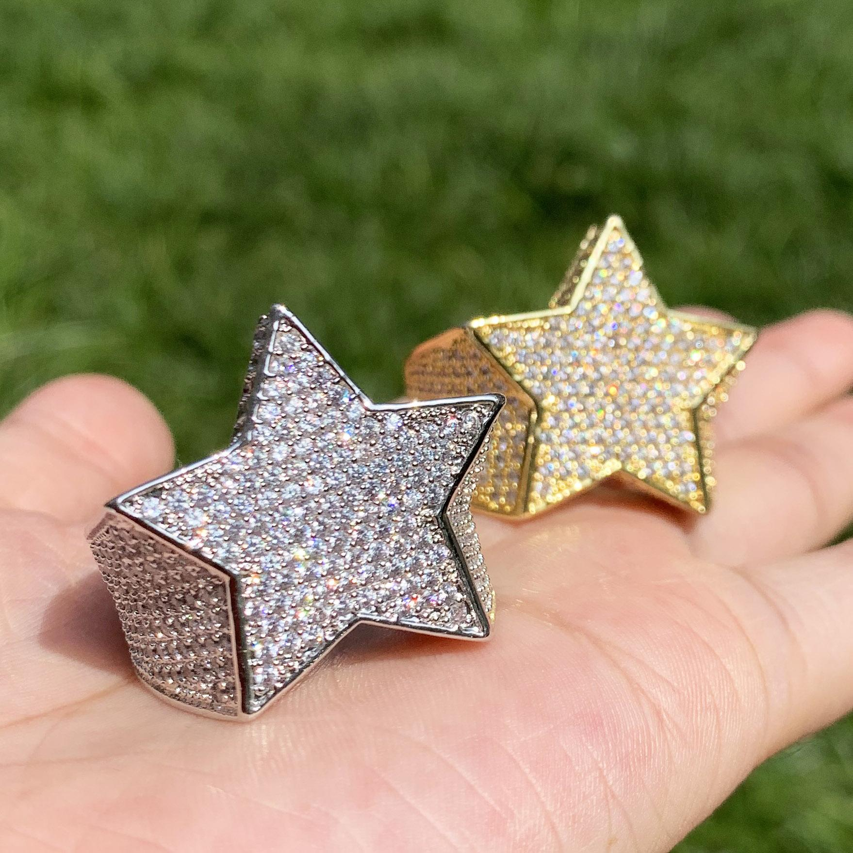 Men's Star Ring 18 K Copper Charm Gold Color Full Zircon RING Fashion Hip Hop Rock Jewelry