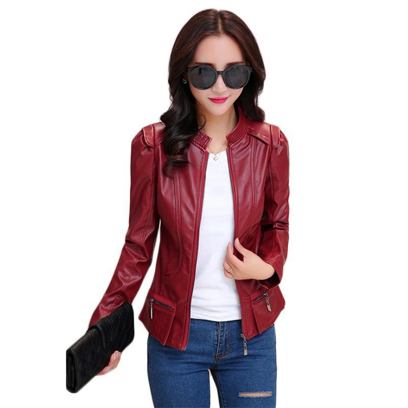 Chaqueta de piel sintética Mujer Vino Rojo Negro Negro Tallas grandes Primavera Otoño Nuevo Coreano Coreano Slim Moto PU Abrigo de cuero Feminina LD1298 201030