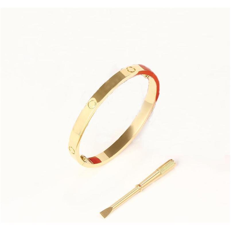 Pulsera de brazalete de acero inoxidable de oro 316L de oro, plata y rosa de oro rosa con destornillador y sto sqcjls beauty888