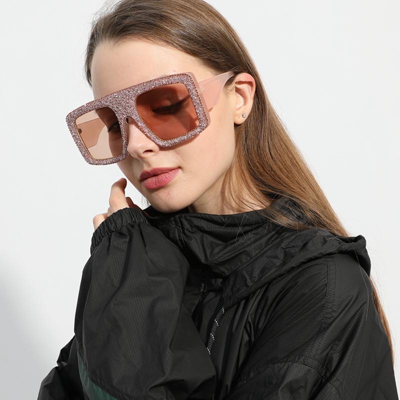Солнцезащитные очки Уникальные Женщины Бренд Дизайн Квадрат Негабаритные Солнцезащитные Очки Мужчины Большая Рама Винтаж Феминино