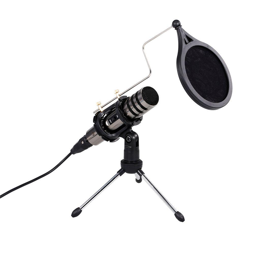 2020 Microfono condensatore multifunzione Kit microfono Kit microfono 3.5mm Computer del telefono cellulare Karaoke Voice Microfono con treppiede