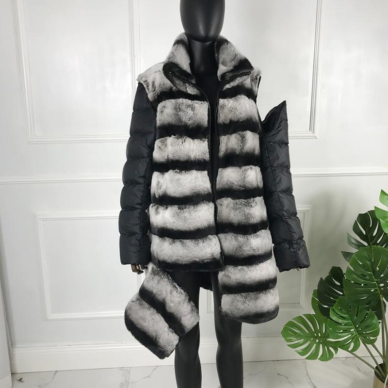 Damskie futro Faux Jacket Kobiety Moda Chinchilla Płaszcz 90 cm Długi Odłączany Znosić Jesień Zima Prawdziwe Rex Płaszcz
