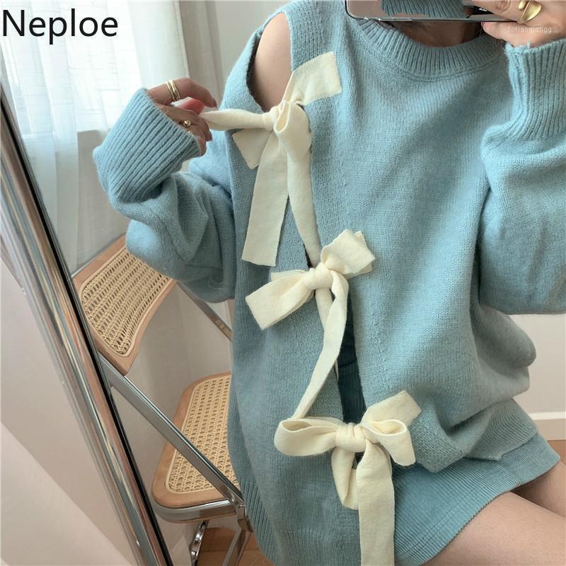 Newpoe Coreano Bow Pie Hollow Out Split Split Pullover Suéter Causal Manga Larga O-Cuello Punto Tops 2020 Otoño Jersey de invierno 600271