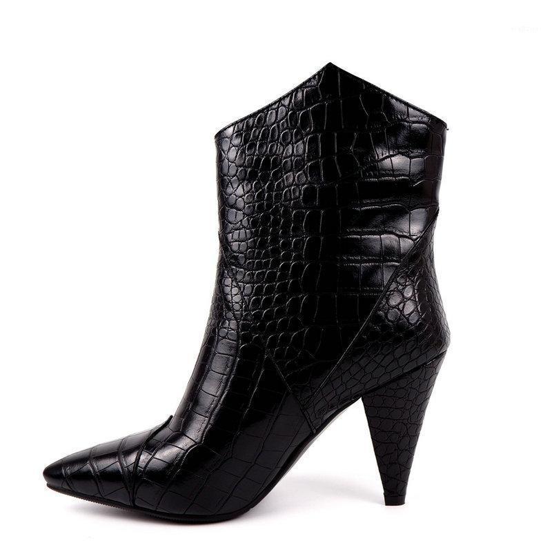 2021 Winter Frauen Stiefel Mode Gedruckt PU Damen Western Stiefel Bequeme Kegelstätte High Heel Knöchel Herbst Short1