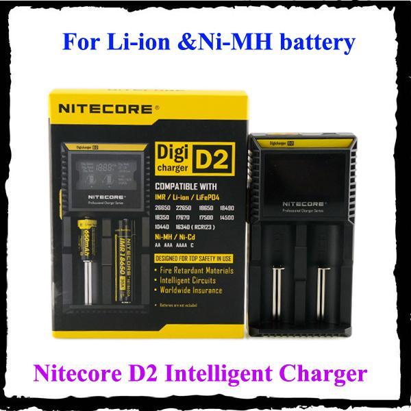 100% Nitecore D2 Evrensel Şarj 18650 16340 26650 14500 22650 18490 18350 Pil LCD Ekran