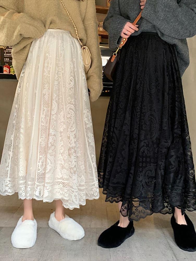 Werueruyu 2020 новый весна и летние женские талии марлевой кружевной юбке тонкий