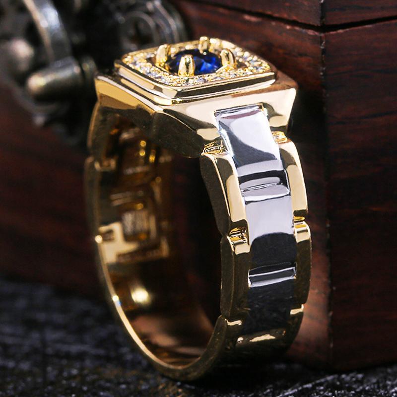 Februaryfrost Brand Party Мужчину Кольцо Творческие Часы Shaped двухцветного дизайн кольцо для мужчин обручального кольца с Размером 6-14 Мужских ювелирных изделиями оптом
