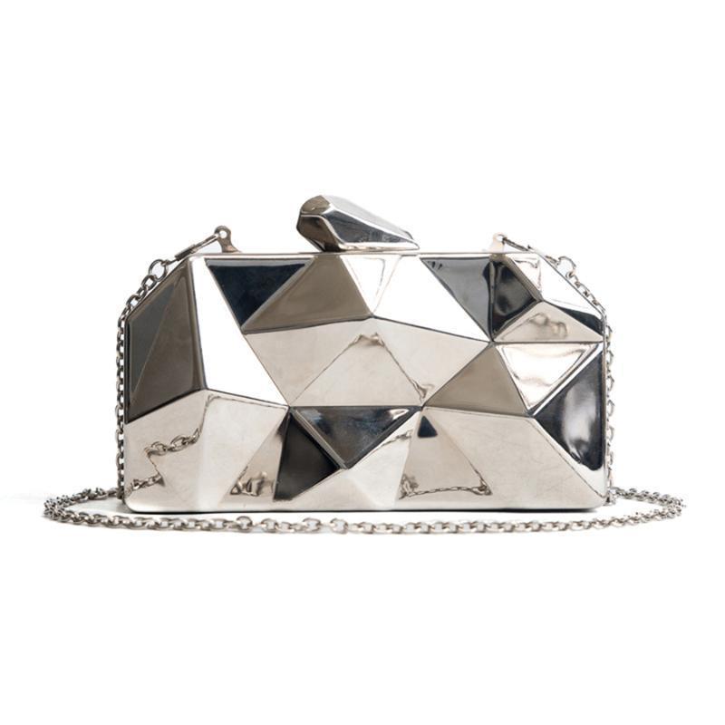 Hexágono Mulheres Bolsas de Metal Embreagens de Alta Qualidade Moda Geométrica Mini Partido Preto Noite Bolsa de Prata Bolsas De Gold Box Embreagem